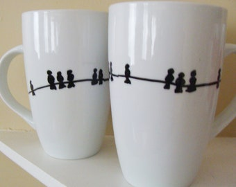Birds on a Wire Tall  Mugs/Cups Hand Painted