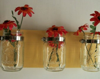 Flowers. Mason Jars, Sunshine Butter Yellow Cottage Rustic Shelf