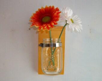 Cornflower Yellow Flower Wood Wall Mason Jar Shelf