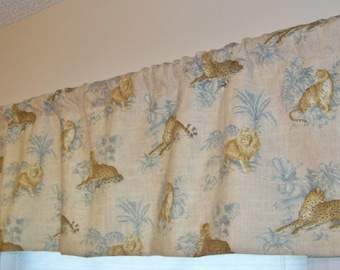 CLEARANCE SALE Jungle Animals Window Valance Tropical Leopards Lions Tigers made with Linen Blend Fabric Beige and Wedgewood Blue