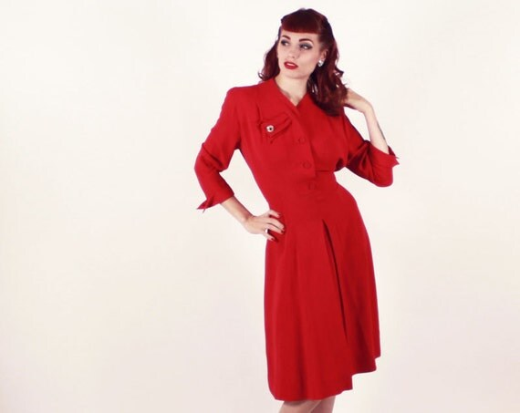 40s Dress - RED Rayon Swing Dress Cohen Bros Style - Large Rhinestone detail