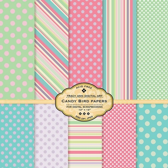 Candy Scrapbook Digital Paper Pastel Digital Papers Set of 10 papers