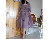 Custom Made Purple Cotton  Front Buttons Small  Pleats Short Loose  Tunic Dress S-L    (H)