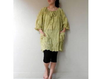 Custom Made Lemon Yellow Soft curly cotton Short Over Size Tunic  Dress Boho Blouse one fit all most  S-L (H)