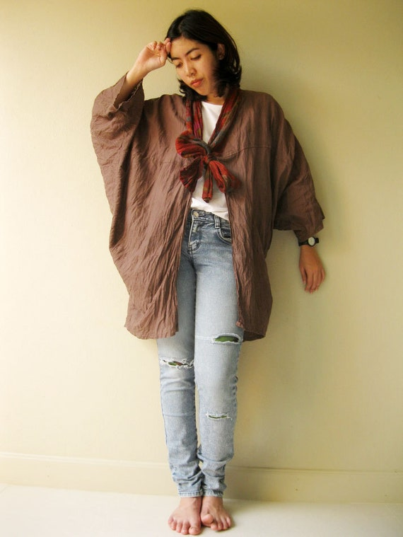 Brown cotton scarf blouse  One fit all (S1)