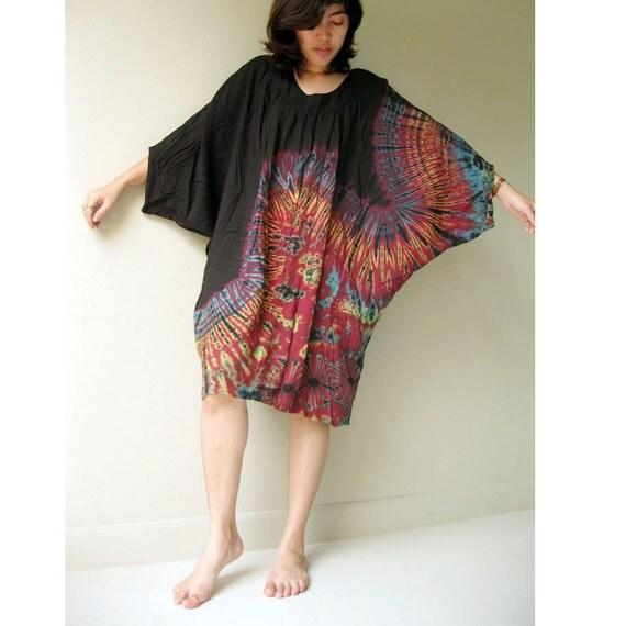 Boho Hippie Tie dye cotton Butterfly blouse S-XXL (BS03)