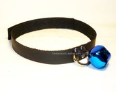 Black Leather Kitten Cat Collar With Your Choice Of Bell Color (COL 146)
