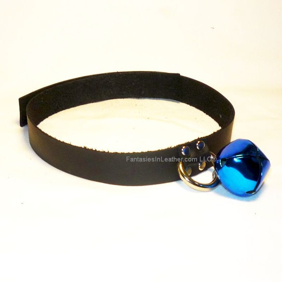Black Leather Kitten Cat Collar With Blue Bell - BDSM Cosplay (COL 133)