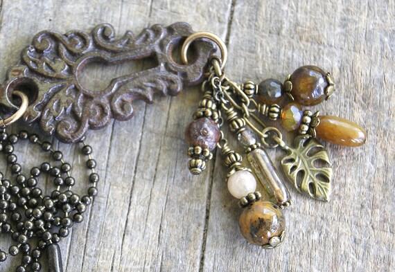 Vintage  Escutcheon Lock Plate Necklace