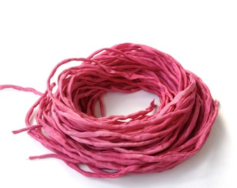 Hand Dyed Silk Cords - Rose Pink