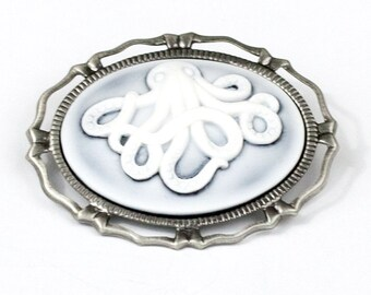Steampunk Ghostly Octopus Cthulhu Tentacle White and Pale Blue Cameo Brooch Pin with Antiqued Silver Frame by Velvet Mechanism