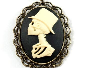 Spooky Gothic Steampunk Gentleman Skeleton with Top Hat Cameo Necklace with Brass Filigree Setting and Vintage Chain by Velvet Mechanism