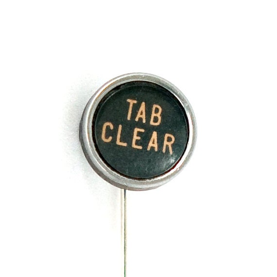 Steampunk Vintage Tab Clear Typewriter Key Lapel or Ascot Pin by Velvet Mechanism