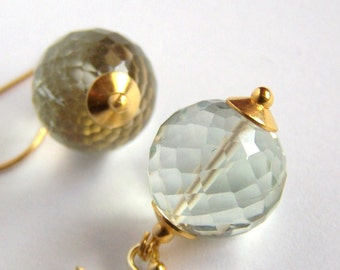 Large Green Amethyst Earrings Gold Vermeil Sterling Silver Prasiolite Lantern ball earrings etsy Faceted Gemstone Minimalist pinkowljewelry