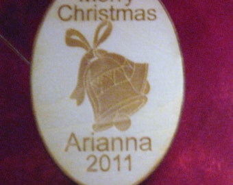 2016 Personalized christmas bell ornament tag