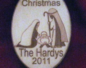 Christmas Ornament - Personalized wooden nativity christmas ornament 2016