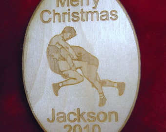 Wooden ornament - Personalized wooden Christmas wrestler 2017 ornament