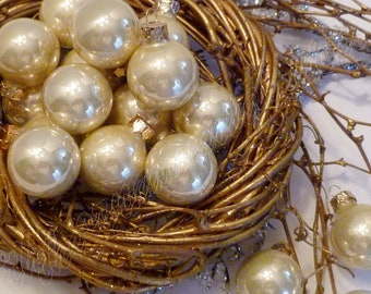 12 Buttermilk Glass Ball Easter Christmas Feather Tree Ornaments Wreath Decorations