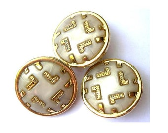 6 Vintage plastic buttons white with gold color trim 21mm