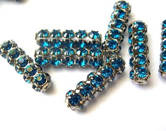 2 Vintage SWAROVSKI  beads blue rhinestones crystals in silver color metal setting genuine 1100 made in Austria