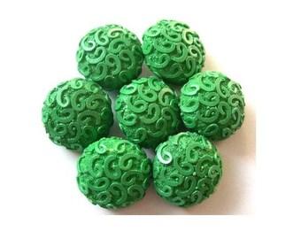 6 Antique vintage buttons etched design green plastic, thick, RARE