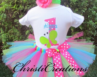 Baby Girl First Birthday Outfit, Butterfly Party, Includes Tutu, Bodysuit and Headband