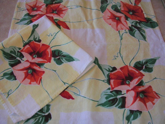"""2 Red and Yellow Morning Glory Vintage Napkins 16"""" X 17"""""""