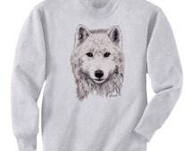 White Wolf Art Men's Sweatshirt Small - 2XL