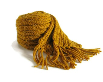 Yellow Wool Scarf, Long Scarf, Scarf with Fringes, Chunky Knit Scarf, Winter Scarf, Wrap Scarf, Mens Scarf, Womens Scarves