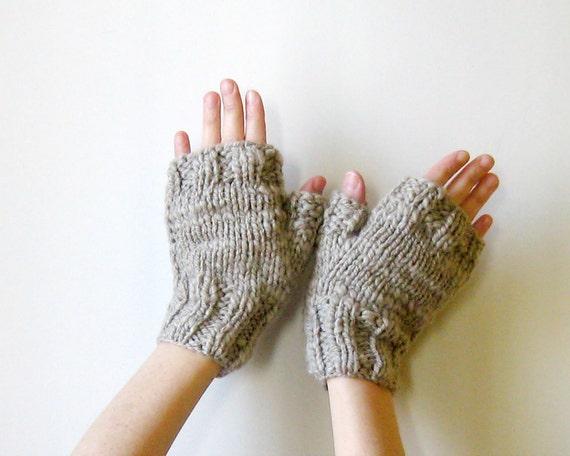 Ecru Fingerless Mittens Hand Knitted