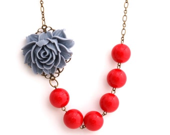 Asymmetrical Gray and Red Rose Necklace