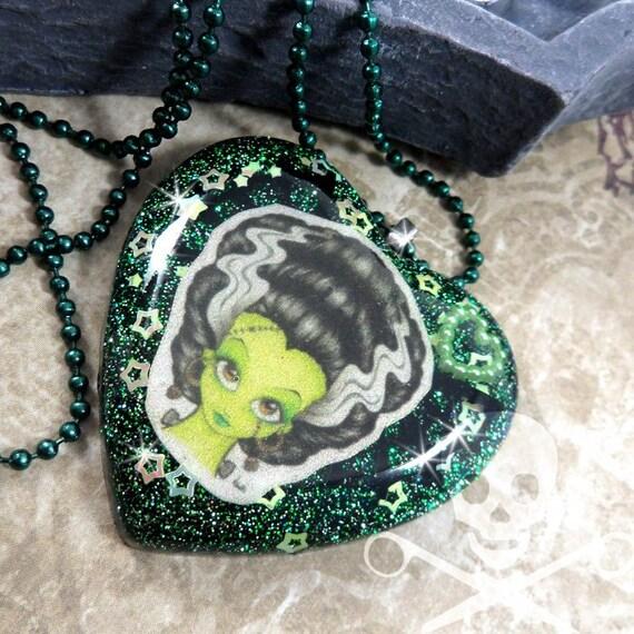 BRIDE OF FRANKENSTEIN - Halloween Resin Green Glitter Heart Necklace