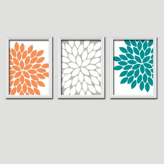 Orange grey teal turquoise flower burst dahlia bloom for Orange and grey bathroom accessories