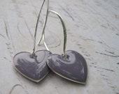 Lavender Heart Earrings, Lilac Purple Heart Earrings, Enamel Heart Earrings, Sterling Silver Enamel Heart Earrings
