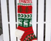 2 hand knit Christmas stockings