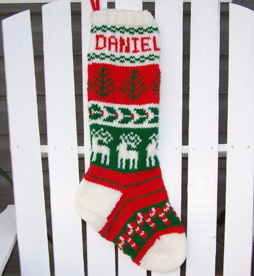 Custom made hand knit christmas stockings for Custom made christmas stockings