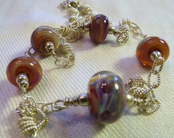 Boro lampwork bobbles necklace