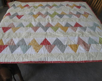 Modern Large Colorful Crib Quilt designed by Sweetwater and using Reunion and Hometown fabrics from Moda