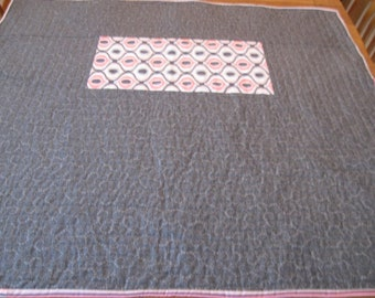 Modern Gray, White, and Pink Crib Quilt for a baby Girl