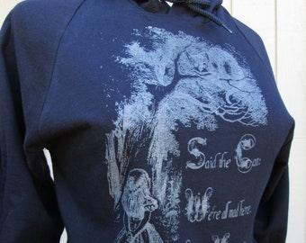 Glow in the dark Alice in Wonderland and Cheshire Cat We're all mad here hoodie Unisex Sizes S M L XL & 2XL