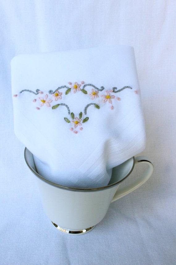 Pink & Gray Corner Hand Emboridered Handkerchief