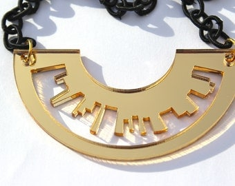 Gold Necklace Skyline Laser Cut Acrylic Mirrored Perspex London New York on Fabric Polyester Chain