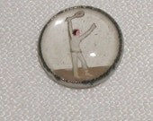 Reserved for Dan Vintage Man Playing Tennis His Serve Intaglio Button