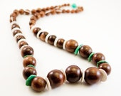 Natural Beauty Necklace, OOAK, Free Shipping, Eco Necklace, Organic Style, Dark Wood Graduated Beads, Long Style, Laura Mae Jewelry