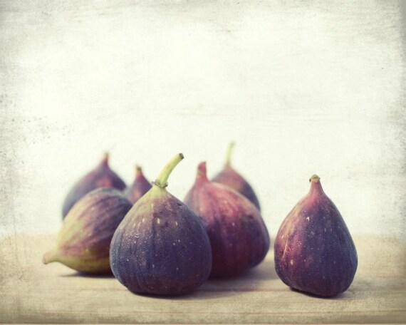 Food still life photography - fig photography - rustic kitchen decor - fruit photo - plum mauve - autumn purple wall art 'Second Harvest'