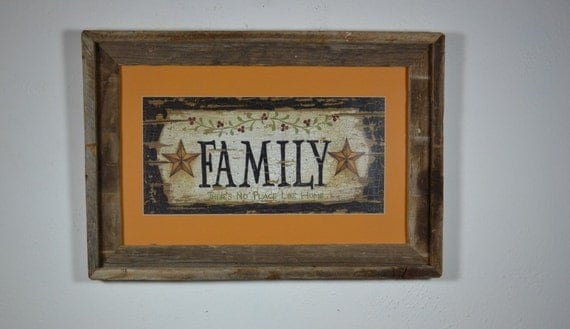 Family print in rustic barn wood poster frame 12x19  complete