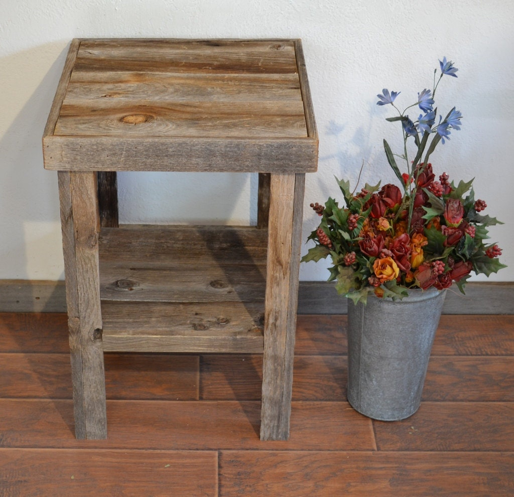 Eco friendly barnwood wood end table or night stand by for Small wood end table
