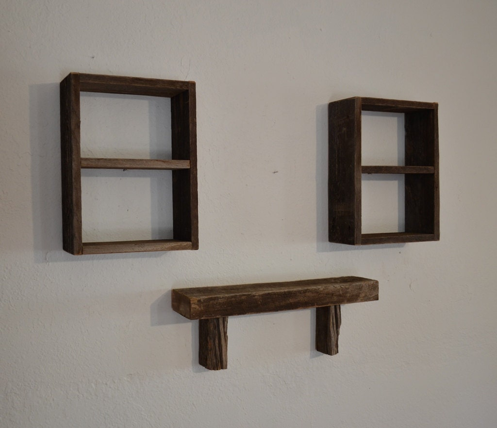 shadow boxes and wall mounted wood shelf. Black Bedroom Furniture Sets. Home Design Ideas