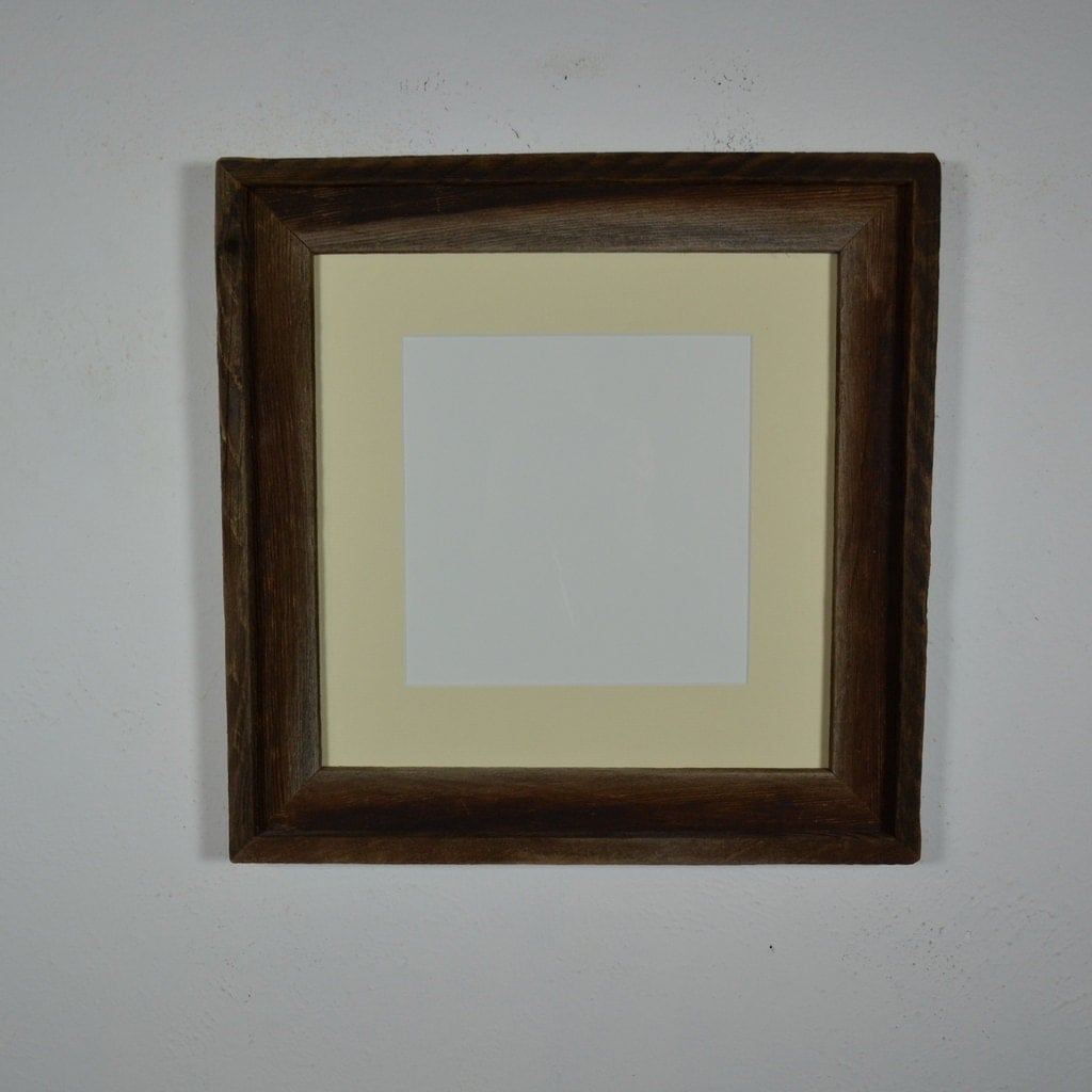 Square frame 12x12 brown and gray barnwood with off white 8x8