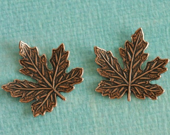 2 Copper Maple Leaf Findings 2681